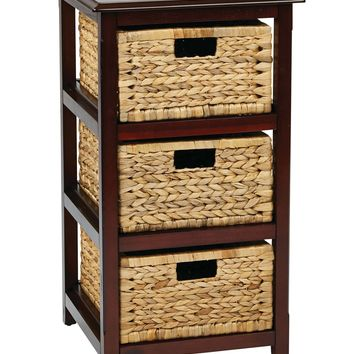 OSP Designs Seabrook Three-Tier Storage Unit With Espresso Finish and Natural Baskets