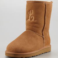 Monogrammed Short Boot, Chestnut