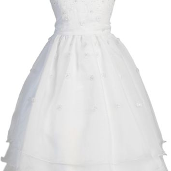 Dimensional Flowers, Embroidery & 3 Tier Hem Organza First Holy Communion Dress (Girls Size 5 to 14)