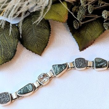 Artisan Crafted Sterling Silver Green Seraphinite Druzy Quartz Bracelet