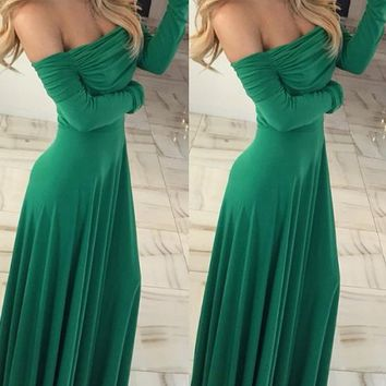 Green Draped Boat Neck Long Sleeve Off Shoulder Abendkleid Party Maxi Dress