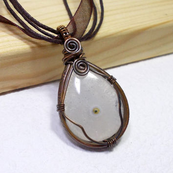 Teardrop Solar Quartz Copper Pendant Necklace, Wire Wrapped Rustic Copper Jewelry