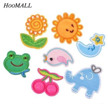 Hoomall 7PCs Iron-On Patches For Clothes Flowers Bird Animal Applications Stripes On Clothes Embroidered Sewing Jeans Decoration
