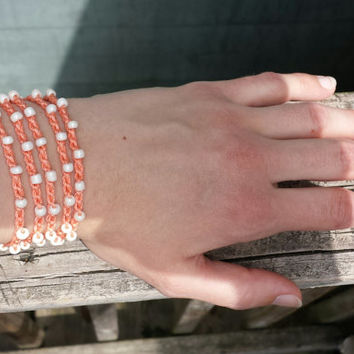 Beaded Crochet Bracelet Anklet Necklace in One. Tangerine and eggshell white. Made To Order