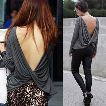 Draped Deep V-back Backless T-Shirt Crop Blouse
