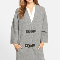 Women's MICHAEL Michael Kors Buckle Front Wool Sweater Coat,