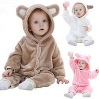 new 2016,autumn spring clothes,baby romper,warm clothing,newborn,coral fleece baby girls boys clothes,for 3-24M