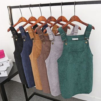 Women Fashion Summer Retro Corduroy Suspender Sundress Overall Vest Natural Dress