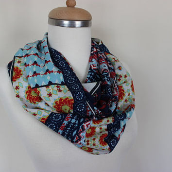 Boho Scarf, Floral Scarf, Patchwork Print Scarf, Floral Print Scarf, Floral Pattern Scarf, Woman Accessories, Gift For Her, Colorful Scarves