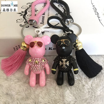 Fashion Trinket Key ring Leather Rope Key chains Handmade DIY Craft Cartoon Bear Keychain Tassel Key chain  Bag Charm Pendant