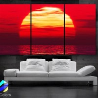 "LARGE 30""x 60"" 3 Panels Art Canvas Print Beautiful Huge Sunset Beach ocean sun Red Yellow  Wall Home (Included framed 1.5"" depth)"