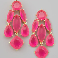 crystal statement earrings, pink