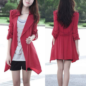 2014 New Fashion Fall Women Trench Thick Medium Long Coat Jacket Outwear  SV007233 = 1904188804