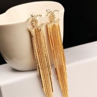 Chanel with the personality of the ultra - immortal character of the ear nail tassel earrings