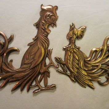 Syroco Golden Roosters American Mid Century Composition Wall Decor
