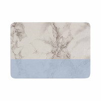 "Suzanne Carter ""Marble And Blue Block"" Modern Gray Memory Foam Bath Mat"