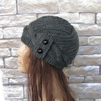 Hand Knit  Hat- winter hat - Womens hat  Cloche hat  in Charcoal Gray   Winter Accessories  Fall Autumn Winter  Fashion Valentines Day
