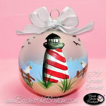 Hand Painted Ornament - Glass Ball Ornament - Lighthouse - Original Designs by Cathy Kraemer