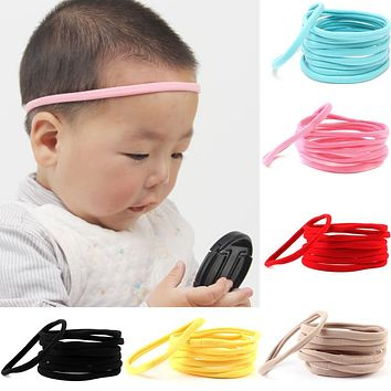 10pcs/set Hot Cute Boys Girls Elastic Seamless Hairwear Spandex Nylon Headband For Children Skinny Stretchy Hair Accessories