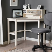 Corner Laptop Writing Desk with Optional Hutch - Vanilla | www.hayneedle.com