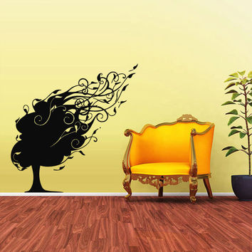 Wall Vinyl Sticker Decals Decor Art Bedroom Design Mural Tree Foliage Wind (z1600)