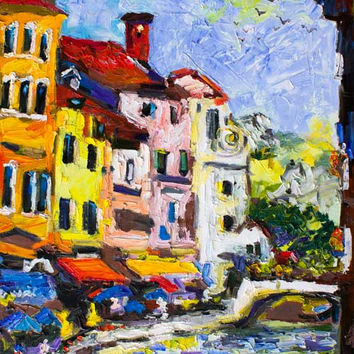 Summer in Annecy France Large Impressionist Original Oil Painting