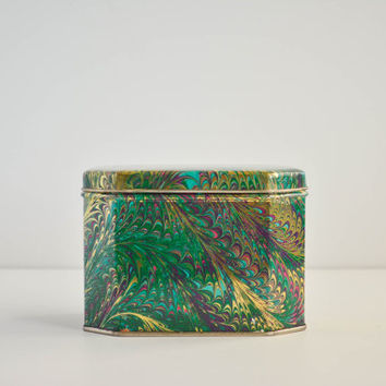 Vintage Green & Gold Marbleized Octagonal Tin Box