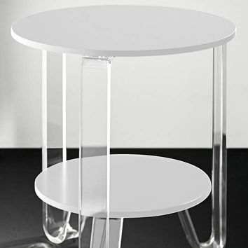 """Jordan 18 1/2"""" Wide White and Acrylic Modern Accent Table - #42D74 
