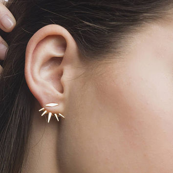 Spike gold ear jacket, Gold ear jackets, Ear jacket earrings,Dainty ear jacket,Modern ear jacket, Ear cuff, Dainty earrings, Tiny ear jacket
