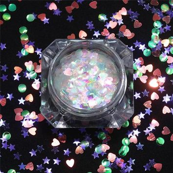 Heart Star Butterfly Mermaid Nail Sequins 2g Round Squre Colorful Paillettes Sparkle Flakes UV Gel Manicure Nail Art Decorations