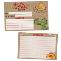 Nacho Average Bridal Shower Recipe Cards Fiesta Taco