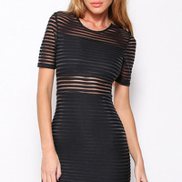 Black Striped Short Sleeve Bodycon Dress