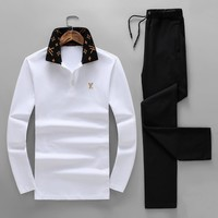LV Louis Vuitton 2018 autumn and winter new trend men's sports and fitness two-piece White