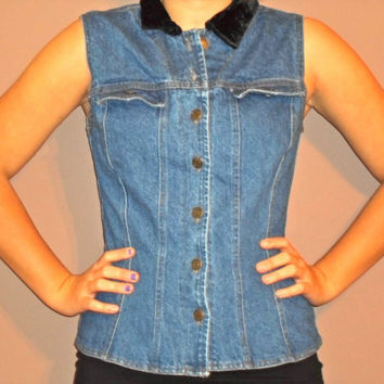 ON SALE denim button down w/ Velvet Collar, corset top sleeveless denim shirt