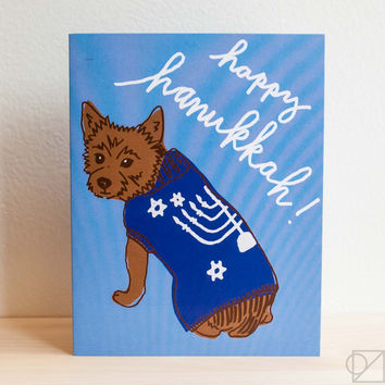 Hanukkah Dog Sweater Greeting Card