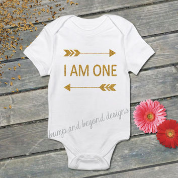 I Am One First Birthday Shirt One Arrow Gold Glitter Birthday Outfit Baby Girl One Year Old READY TO SHIP 019