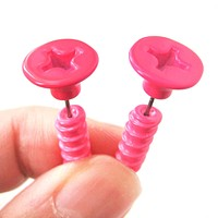 Fake Gauge Earrings: Realistic Screw Shaped Faux Plug Stud Earrings in Neon Pink