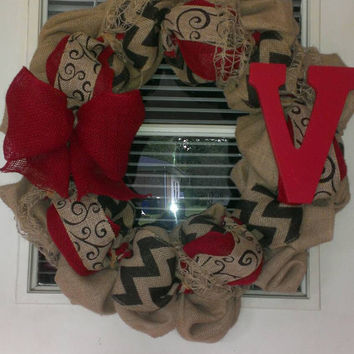 Red chevron burlap initial wreath, monogram, red burlap, monogram wreath, fall wreath, Christmas wreath, year round wreath, door decor