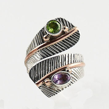 Peridot & Amethyst Adjustable Sterling Silver Leaf Ring