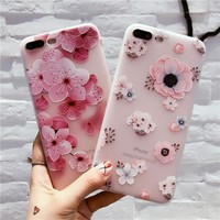 Flower Patterned Case For iPhone 6 6s plus iphone 6s Cover Soft Silicon Floral Cover For iPhone 7 Plus iPhone 8 Plus Cases