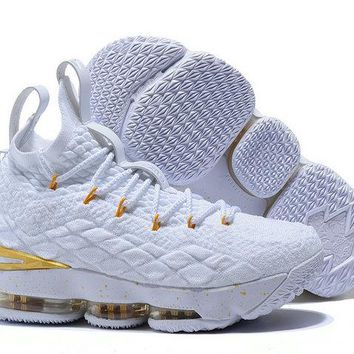 Nike LeBron 15 White Metallic Gold