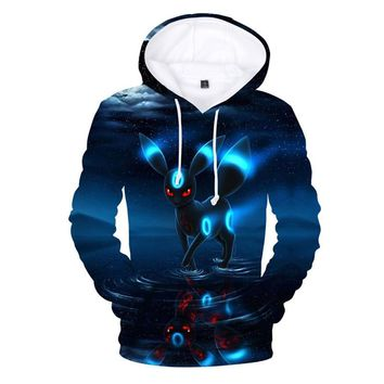Harajuku Men Women  Go Umbreon Hoodie Funny Anime Character Hooded Sweatshirts Autumn Winter Men Adventure Time PulloversKawaii Pokemon go  AT_89_9