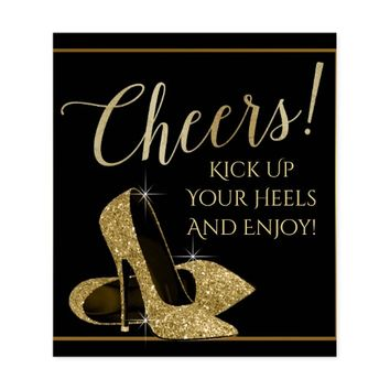 Gold High Heel Shoe Cheers Wine Bottle Labels