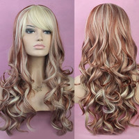 European Fashion Side Bang Fluffy Mixed Color Long Deep Wavy Women's Synthetic Wig (Size: 60 cm) = 1842768900