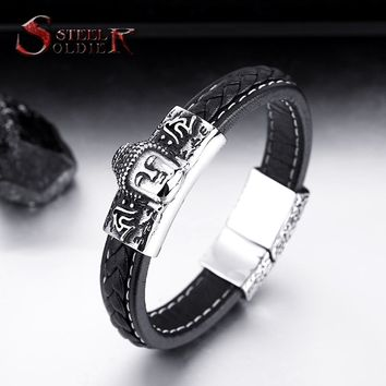 Steel soldier Wholesale Dropshipping high Quality Buddha Man's Bracelet Bangle jewelry