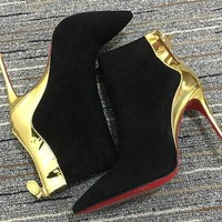 Christian Louboutin Cl Women Suede Ankle Boots Reference #17 - Best Deal Online