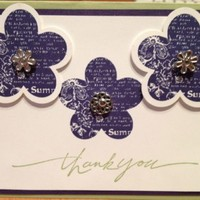 Thank You Triple Flowers Card | cardsbylibe - Cards on ArtFire