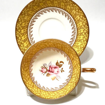 Aynsley Rose Flower Tea Cup, Yellow, Fancy Gold Gilt Decoration, Athens Shape, English Bone China, Vintage Tea Cup And Saucer, Wide Mouth