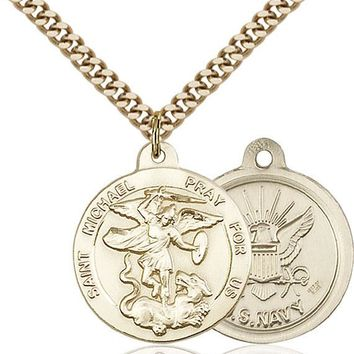 14K Gold Filled St Michael Navy Military Soldier Catholic Medal Necklace 617759789300