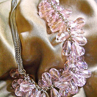 Pink-Lavender Crystal Necklace, Cluster, Cha Cha Tear Drop, Silver Tone, Vintage